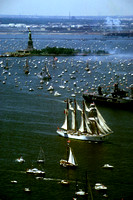 view from World Trade Center of harbor - July 4, 1986