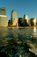 view of World Financial Center from Hudson River in winter